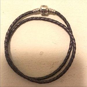 Pandora Purple double leather bracelet size D3/L!